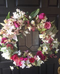 Spring Wreath-Summer Wreath-Front Door Wreath-Wreath-Mother's Day Gift-Garden Delight Wreath-Designer Wreath-Romantic Wreath by BlessMyNestShop on Etsy