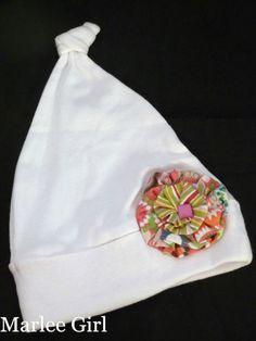 $8.25 Handmade Baby Hat White Multi Color Flower Stocking Newborn 0 6M Infant Photo | eBay