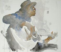 Watercolor by Carlos Leon Salazar Painting People, Figure Painting, Painting & Drawing, Watercolor Portraits, Watercolor And Ink, Watercolor Paintings, Watercolors, Ukulele Art, Jeff Koons