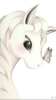 unicorn cartoon kawaii white with twisted little horn and .- dessin licorne kawaii blanche avec petite corne torsadées et de grands yeux noi… unicorn drawing white kawaii with twisted little horn and big black eyes - Unicorn Painting, Unicorn Drawing, Unicorn Art, Cute Unicorn, Beautiful Unicorn, Cute Animal Drawings, Cartoon Drawings, Cute Drawings, Drawings Of Unicorns