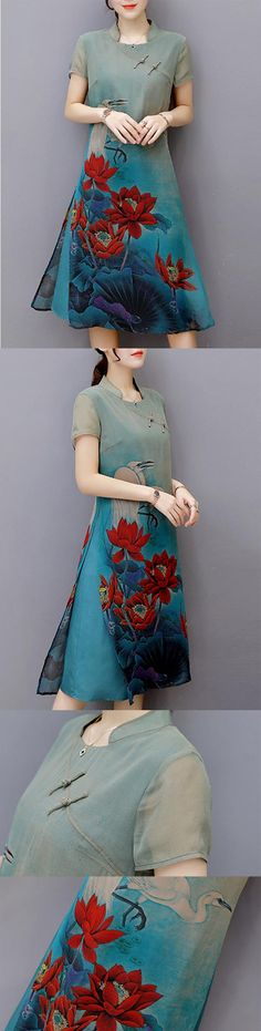 Only US$30.04 You Can Get A Wonderful Vintage Women Printed Short Sleeve Chinese Style Dresses