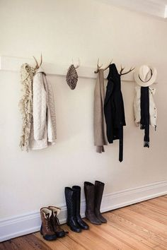 Antlers used as hooks for clothing