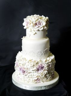 "Vintage 3 Tier Ruffles and Roses Wedding Cake - As featured in MSN Food ""Wedding Cakes with a wow factor!"""