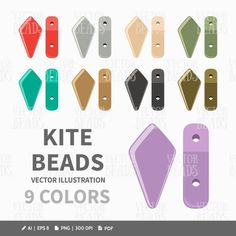 Vector Clipart Set of Two-Hole Kite Beads  Digital Beads