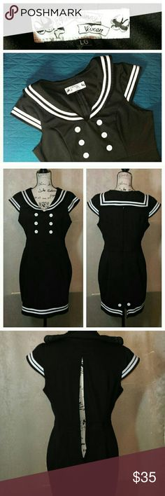 Sexy Hell Bunny PinUp Sailor Dress Excellent Condition! Soft Polyester fabric. Tailored to show off your curves. Zipper in back. Hell Bunny Vixen Dresses Midi