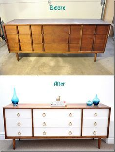 Repurposed furniture before and after dresser redo drawer pulls ideas furniture dresser furniture ideas furniture diy furniture before and after Bedroom Furniture Makeover, Apartment Furniture, Refurbished Furniture, Retro Furniture, White Furniture, Repurposed Furniture, Furniture Projects, Diy Furniture, Furniture Design