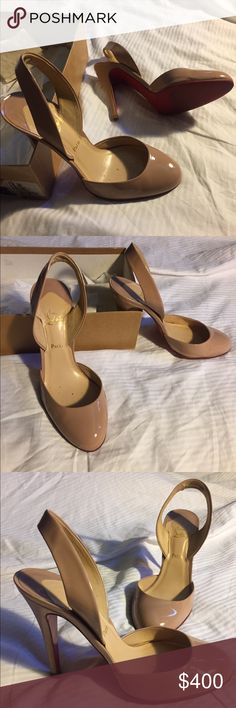 """Christian Louboutin Nude Slingback In great condition bottoms have been treated so red don't fade. 4 1/2"""" heel Christian Louboutin Shoes Heels"""