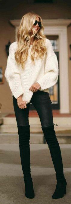 Black and white fashion #fall #fashion / knit + leather  / @heatonminded
