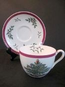 Old Mark Copeland Spode Christmas Tree  Red Wine Trim Cups
