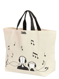 karl lagerfeld - women - totes - karl canvas music canvas tote bag