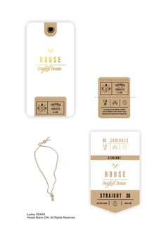 Denim Swing Tag//part 1 on Behance Tag Design, Label Design, Packaging Design, Menu Design, Swing Tags, Vintage Tags, Garments Business, Diy Projects To Try, Fashion Branding