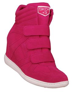 "I want these!!  Get a 3"" boost in the SKCH+3 Raise the Bar hidden wedge sneaker: now in hot pink suede."