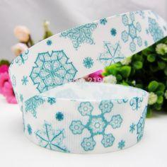 1492123 ,22mm Cartoon Christmas Snowflake Series printed grosgrain ribbon,Clothing accessories,DIY jewelry wedding package