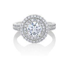 … De Beers Aura Double Halo Solitaire Ring …