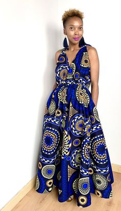 Drawstring African print maxi dress with pockets Jumpsuit, Pockets, Dresses, Fashion, African Dress, Vestidos, Overalls, Moda, Fashion Styles