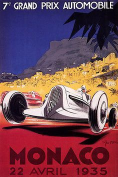 1935 SAN SEBASTIAN SPAIN CAR RACE GRAND PRIX FINE VINTAGE POSTER REPRO 12 X16…
