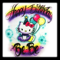 Hello Kitty inspired  Airbrushed Tee shirt design 1stopairbrush.com. $12.99