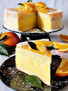 This recipe is in Romanian, zebra orange mousse cake Citrus Cake, Cake Recipes, Dessert Recipes, Good Food, Yummy Food, Different Cakes, Dessert Drinks, Let Them Eat Cake, Gelato