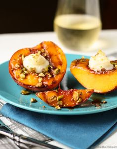 Grilled Peaches with Mascarpone, Pistachios and Balsamic Glaze Recipe on Yummly