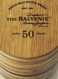The Balvenie 50  An extremely rare 50 year old whisky, produced in a limited edition of only 88 bottles, The Balvenie Single Malt distilled in 1962 in celebration of David Stewart, the Balvenie Malt Master's extraordinary 50 year career.    The tube is made from 49 slices of native Scottish timbers, and the fiftieth ring is brass, engraved with the story of fifty years of the Balvenie Malt Master's career.  http://www.heredesign.co.uk/