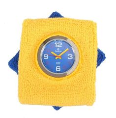 Avalon Original Sweatwatch Interchangeable Watch with Royal Blue and Yellow Sweatbands # ASW004 Avalon. $11.95. Includes gift box and lifetime limited warranty. Accurate Japanese quartz movement and scratch resistant mineral crystal. Great for sports such as running, basketball or tennis. Hi quality washable terry cloth sweatbands in yellow and royal blue. Unique Silver-Tone Watch with 2 Interchangeable Sweatbands. Save 80% Off!