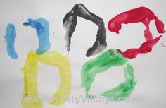Olympic rings handprint. So these aren't as perfect as the regular Olympic rings but given you make them with your hand they are much more fun!