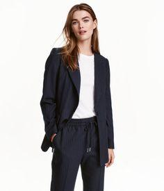 Fitted Blazer | Dark blue/striped | Ladies | H&M US