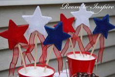 DIY, Red, White and Blue Stars and Strips Centerpiece (kids project)
