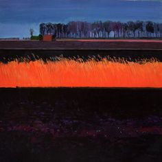 Fred Ingrams - Winter Evening in the Black Fens Abstract Landscape Painting, Watercolor Landscape, Landscape Art, Landscape Paintings, Watercolor Art, Abstract Art, Love Painting, Painting & Drawing, Fred
