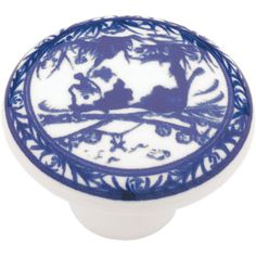Refresh a flea market find or update your kitchen cabinets with this stylish ceramic knob, featuring a chinoiserie-inspired design in delft blue.