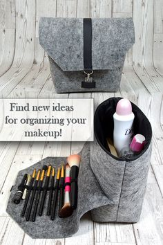 Makeup organizing bag with brush holder idea for a practical gift for women