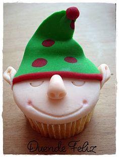 Fofurices: Cupcake de Natal: Duende Feliz