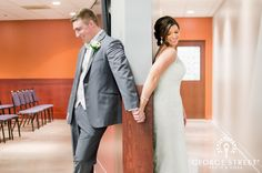 Here is a sweet way to have a moment with your partner without actually seeing each other before the ceremony!