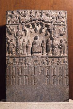 buddhist votive stele Chinese, Tang dynasty, 618–907 Place made: China Buddhist votive stele, A.D. 750 Stone h. 73 cm., w. 49.5 cm., d. 13.5 cm. (28 3/4 x 19 1/2 x 5 5/16 in.) Museum purchase, Carl Otto von Kienbusch Jr., Memorial Collection y1943-134