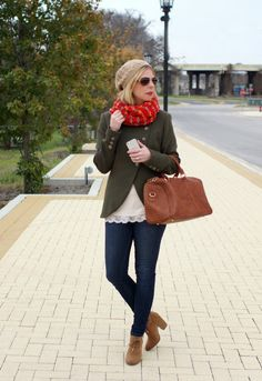 Military jacket & bold scarf. Winter outfit idea.
