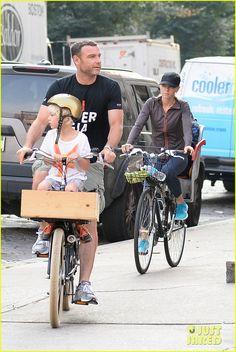 Naomi Watts and Liev Schreiber take their boys Sasha and Samuel bike riding on September 13, 2013