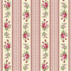 Bavlněná látka Růžičky s proužky tm. růžová RURU, metráž 100% bavlna