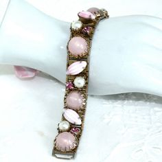 Vintage Pinks & Pearls Bracelet by GeneralWhimsy2 on Etsy, $18.00