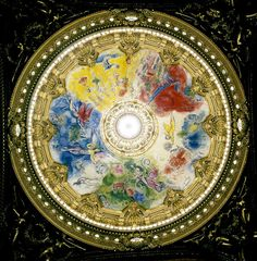 Ceiling, Palais Garnier Opera House, Paris, France (1964) by Marc Chagall - created on removable frames, each frame vividly portrays scenes from operas by 14 composers, including Mozart, Tchaikovsky, and Beethoven.