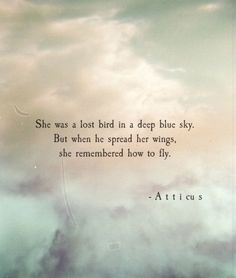 She was a lost bird in the deep blue sky -Atticus Fly Quotes, Poem Quotes, Great Quotes, Quotes To Live By, Motivational Quotes, Inspirational Quotes, Qoutes, Pretty Words, Beautiful Words