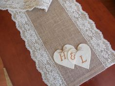 Items similar to Burlap table runner with lace and hearts wedding table runner table decor on Etsy