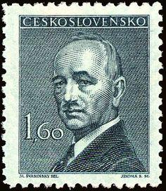 Znaczek: Dr. Edvard Beneš (1884-1948), president (Czechosłowacja) (President) Mi:CS 509,Sn:CS 319,Yt:CS 437,AFA:CS 357,POF:CS 444