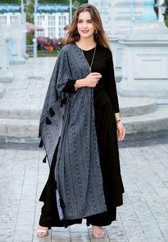 Plain Rayon Pakistani Suit in BlackWholesale Event Wear Rayon Plain Readymade Kurti With Cotton Dupatta Party Wear Indian Dresses, Dress Indian Style, Indian Fashion Dresses, Indian Designer Outfits, Fashion Outfits, Designer Dresses, Women's Fashion, Stylish Dresses For Girls, Stylish Dress Designs