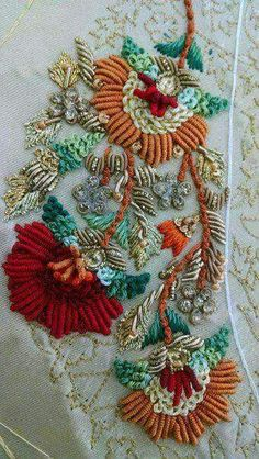 This Pin was discovered by LaL Zardosi Embroidery, Tambour Embroidery, Bead Embroidery Patterns, Hand Work Embroidery, Indian Embroidery, Brazilian Embroidery, Embroidery Fashion, Silk Ribbon Embroidery, Hand Embroidery Designs