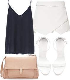 Eleanor inspired outfit for a formal breakfast Untitled #4242 by florencia95 featuring a mini skirt Zara tank top / Zara mini skirt / Zara heeles shoes / Zara messenger bag