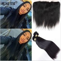 Straight 13x4 Lace Frontal Closure With 3 Bundles Brazilian Virgin Hair Weave  #Orangestar #StraightBundle