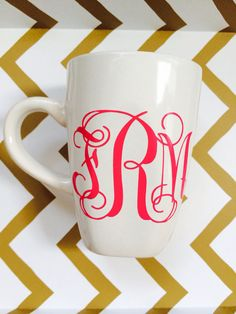 Monogrammed coffee cup by TheMonogramBoutique1 on Etsy