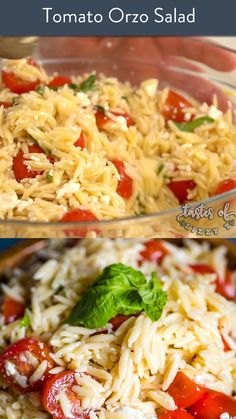 This Tomato Orzo Pasta Salad is a simple yet delicious summer salad recipe with fresh tomatoes, orzo pasta and feta cheese tossed in a basil vinaigrette. Farfalle Recipes, Orzo Pasta Recipes, Pasta Dishes, Summer Salad Recipes, Summer Salads, Healthy Summer, Tomato Pasta Salad, Tomato Tomato, Gourmet