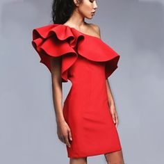 Bear Off Shoulder Fly-Away Solid Bodycon Short Party Dress