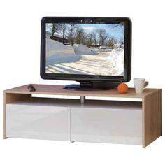 Meuble tv 2 tiroirs Coloris chêne/blanc - Vente de Meuble TV et banc TV / Hi-fi / Vidéo - Conforama